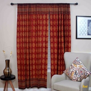Handmade 100% Cotton Kensington Hand Block Print Curtain Drape Door Panel in Gold & Red - 44 inches x 88 inches