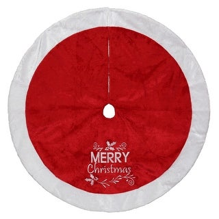 """48"""" Red and White """"MERRY Christmas"""" Embroidered Tree Skirt Christmas Decoration"""