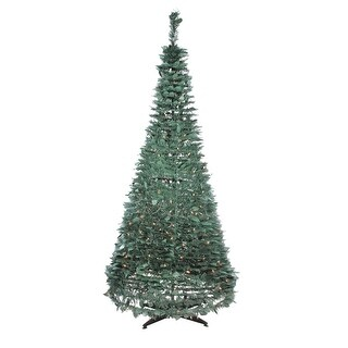 6' Pre-Lit Slim Green Holly Leaf Pop-Up Artificial Christmas Tree - Clear Lights - 6 Foot