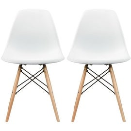 """2xhome - Set of Two (2) - White - New Seat Height 18.5"""" Eames Style Side Chair Natural Wood Legs Eiffel Dining Room Chair"""