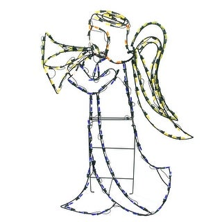 """32"""" Yellow LED Lighted and Animated Angel Christmas Outdoor Decor"""