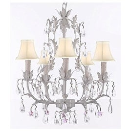 White Wrought Iron Floral Chandelier with Pink Stars and Shades!