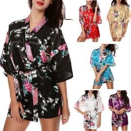 PEACOCK FLORAL PRINT Women's Satin Charmeuse Kimono Robes Set Belted Bathrobe Lingerie