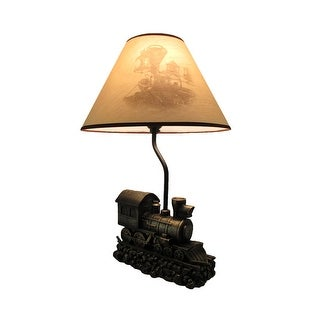 Light in the Tunnel Steam Train Engine Table Lamp with Shade - 19 X 13 X 13 inches