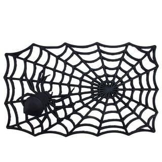 """Black Spider with Web Rectangular Halloween Doormat 29"""" x 17.75"""""""