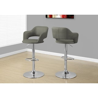 Monarch 2364 Light Grey Chrome Metal Hydraulic Lift Barstool