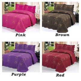 Full Size Purple Pink Brown Red Floral Brand New 3 Piece Quilted Bedspread Quilt Sham