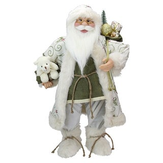 """24"""" Green and White Graceful Standing Santa Claus Christmas Figure with Teddy Bear"""