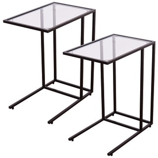 Costway 2PCS Coffee Tray Side Sofa End Table Ottoman Couch Stand TV
