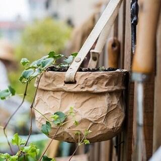 RusticReach Craft Paper Bag Style Concrete Hanging Pot