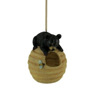 Oh Honey Black Bear On Beehive Hanging Bird Feeder - 7 X 5 X 5 inches