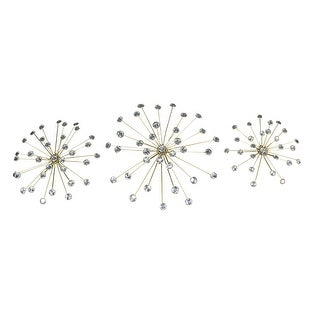 Jeweled Metal Sunburst Wall Mounted Hanging Sculpture Set of 3