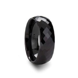 DRACO 288 Diamond Faceted Black Ceramic Ring