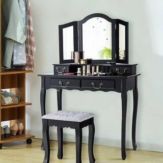 Gymax Vanity Set Makeup Dressing Table Tri Folding Mirror Black Stool