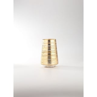 """8"""" Cylindrical Gold Weathered Hand Blown Glass Vase"""