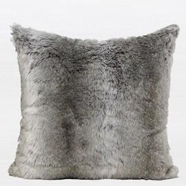 "Gentille Home Collection Luxury Gradient Gray Faux Fur Pillow 22""X22"""