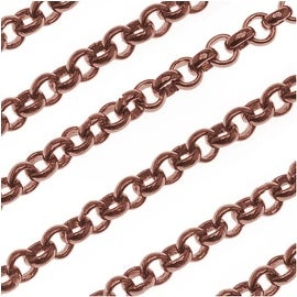 Antiqued Copper Plated Round Rolo Chain 3mm Bulk By The Foot
