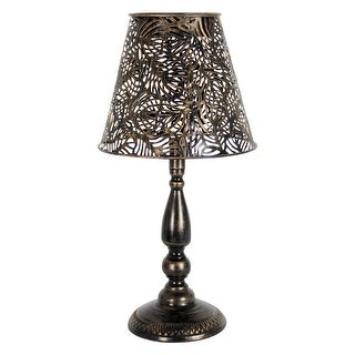 Exhart Solar Bronze Leaf Table Lamp, 19 Inch