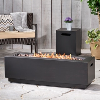 Wellington Outdoor Iron Rectangular Fire Pit with Tank Holder by Christopher Knight Home