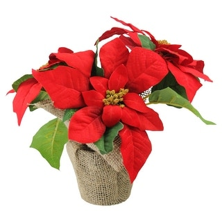 "10"" Red Poinsettia Flower Artificial Christmas Floral Arrangement"