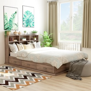 Roman Modern Multi-storage Platform Bed
