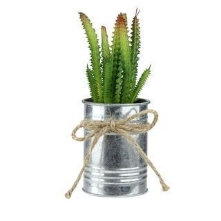 "7"" Silver and Green Mini Artificial Spiky Greenery in Tin Planter with Twine Bow"