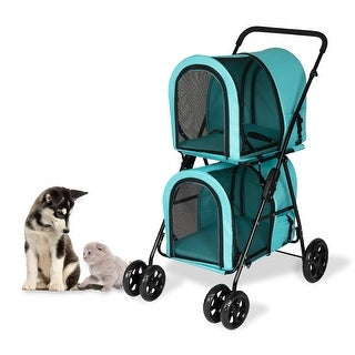 Kinpaw 2-Layer Pet Carrier Stroller, Pet Travel Jogger Car Seat Carrier, Foldable Carrier Strolling Cart, Easy Fold