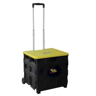 3 in 1 Rolling Trolley Storage Bin Quik Cart with Retractable Handle - Black - 21 in. x 20 in. x 19 in.