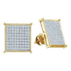 10K Yellow Gold Diamond Stud Earrings 8.25mm Wide 0.18cttww Diamonds Pave Screw Back