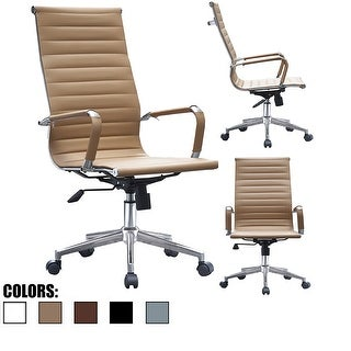 2xhome Tan Designer Executive High Back Office Chair Ribbed PU Leather Swivel for Manager Conference Room Computer Wheels