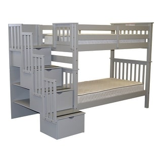 Bedz King Bunk Beds Tall Twin over Twin Stairway with 4 Step Drawers, Gray