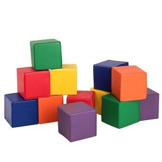 Gymax 12-Piece 8'' PU Foam Big Building Blocks Colorful Soft Blocks Play Set For Kids