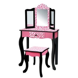 Teamson Kids - Fashion Leopard Prints Gisele Play Vanity Set - Pink, Black - 23.5 x 11.5 x 38.5
