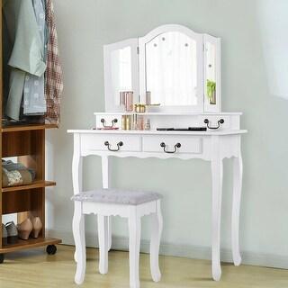Gymax 4 Drawers Vanity Set Dressing Table w/ Tri-Folding Mirror White