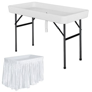 Costway 4 Foot Party Ice Folding Table Plastic with Matching Skirt