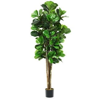 Gymax 6-Feet Artificial Fiddle Leaf Fig Tree Indoor-Outdoor Home