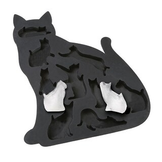What On Earth Cat Ice Cube Tray - BPA-Free Silicone Kitty Shaped Mold for Candy Making or Gelatin Setting - 9.5 in. x 7 in.