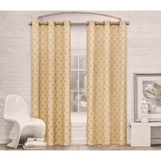 Contemporary Moroccan Trellis Design Classy Top Grommet Two Panel Blackout Window Curtain Set