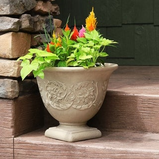 "Sunnydaze Darcy Double-Walled Flower Pot Planter - Beige - 16"" - Single"