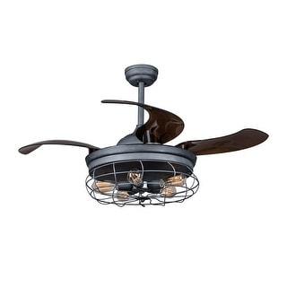 46-inch Foldable 4-Blade Ceiling Fan with 5 Lights and Remote Control