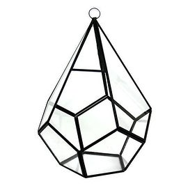"CYS® Hanging Metal Glass Vase Geometric Teardrop Terrarium / Candle Holder - 10"" (Chain Included)"
