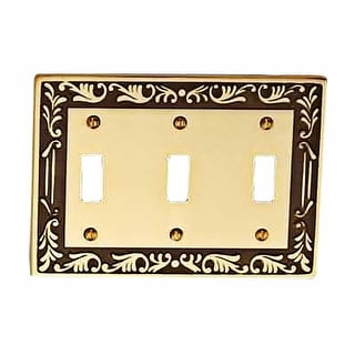 Victorian Switch Plate Triple Toggle Antique Solid Brass Renovator's Supply