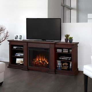 Fresno Media Electric Fireplace in Dark Walnut - 71.73L x 18.98W x 29.88H