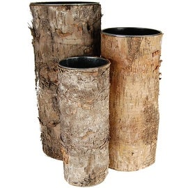 CYS® Zinc Pot with Natural Birch Wood Wrap Zinc Cylinder Vases (Set of 3 pcs)