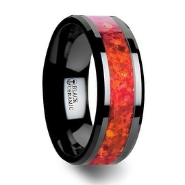NOVA Black Ceramic Wedding Band with Beveled Edges and Red Opal Inlay