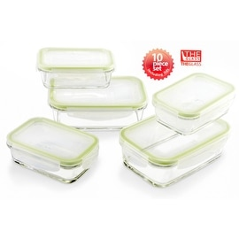 The Glass 10 Piece Rectangular Food Storage Container Set