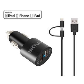 Skiva PowerFlow Dual USB (21W / 4.2A) Rapid Car Charger with 3.2ft Apple Certified Sync/Charge 2-in-1 Lightning/microUSB Cable