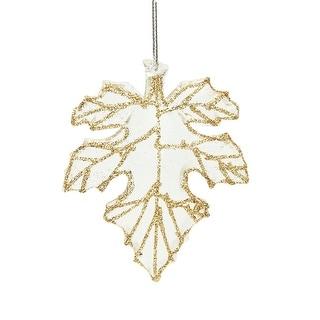 "3.75"" Rich Elegance Clear Champagne Glittered Maple Leaf Christmas Ornament"