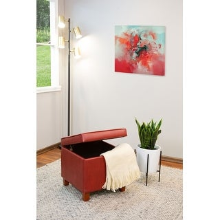 Porch & Den Bittern Tufted Square Dark Red Leatherette Storage Ottoman
