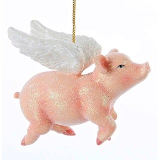 Kurt Adler Whimsical Pink Flying Pig with Angel Wings Holiday Ornament